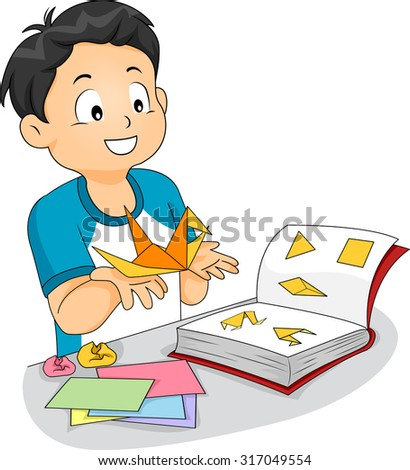 Illustration of a Little Boy Following an Origami Book to Make a Paper Crane - stock vector