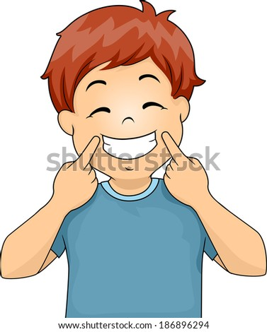 Illustration of a Little Boy Gesturing a Smile - stock vector