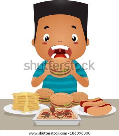 Illustration of a Little Boy Going on an Eating Binge - stock vector