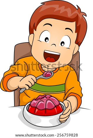 Illustration of a Little Boy Happily Eating Jelly - stock vector