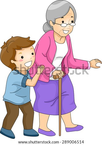 Illustration of a Little Boy Helping an Old Woman Cross the Street - stock vector