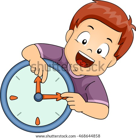 Illustration of a Little Boy Learning to Read the Time on the Clock