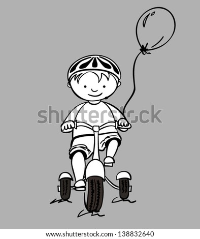 Illustration of a little boy on a tricycle, vector - stock vector