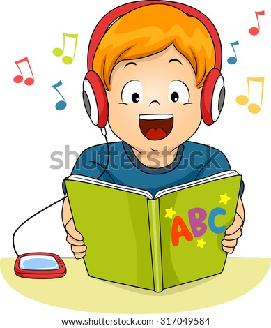 Illustration of a Little Boy Reading a Storybook While Listening to an Audio File - stock vector