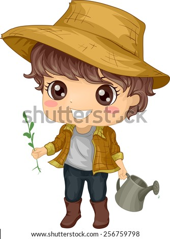 Illustration of a Little Boy Tending to His Garden - stock vector