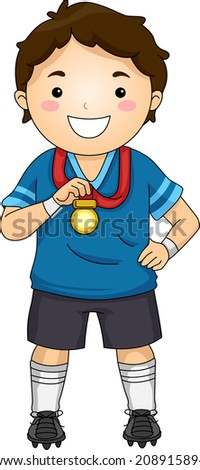 Illustration of a Little Football Player Showing His Medal - stock vector