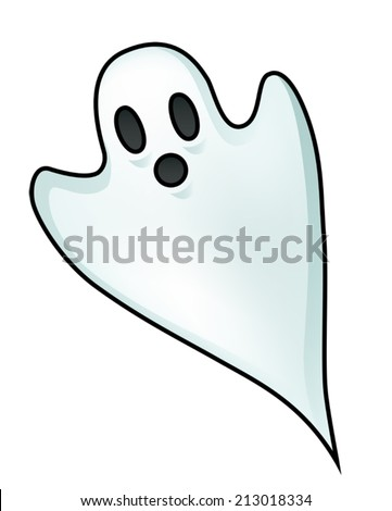 Illustration of a little ghost isolated on white. Eps 10 Vector. - stock vector