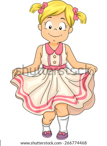 Illustration of a Little Girl Doing a Curtsey - stock vector
