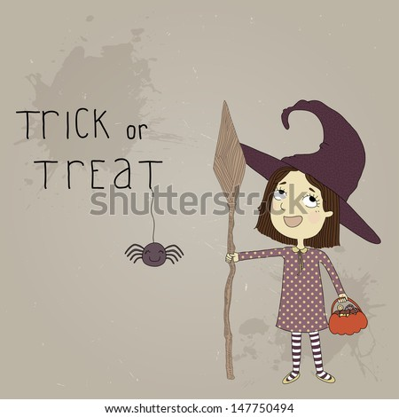 Illustration of a little girl dressed as a witch. Postcard on Halloween - stock vector