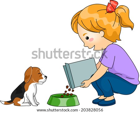 A Girl Feeding The Dog And Cat Icon