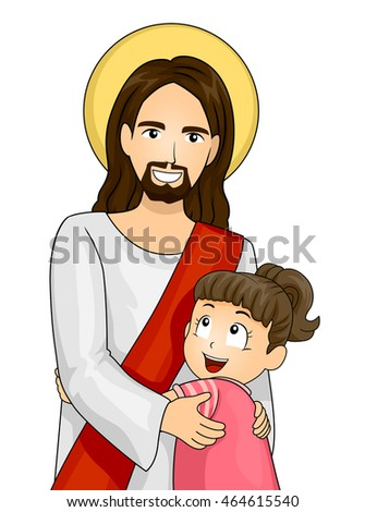 Illustration of a Little Girl Hugging Jesus Tightly