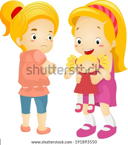 Illustration of a Little Girl Jealous Over Her Playmate's New Doll - stock vector