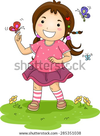 Illustration of a Little Girl Playing with Colorful Butterflies - stock vector