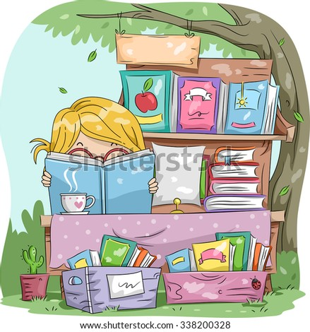 Illustration of a Little Girl Reading a Book While Manning a Yard Sale - stock vector
