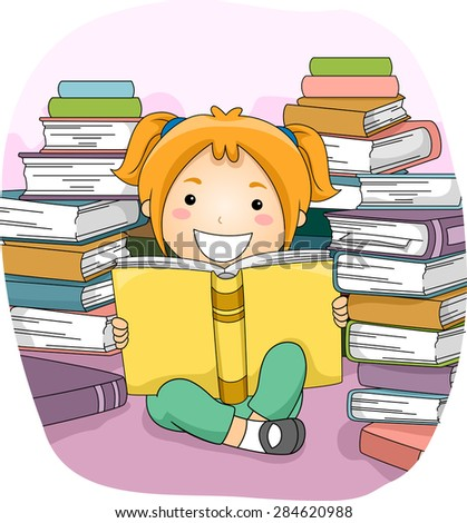 Illustration of a Little Girl Reading a Book While Surrounded by Dozens of Others - stock vector