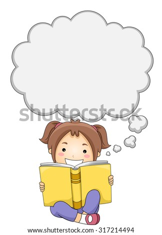Illustration of a Little Girl Reading a Book While Thought Bubbles Appear Above Her Head - stock vector