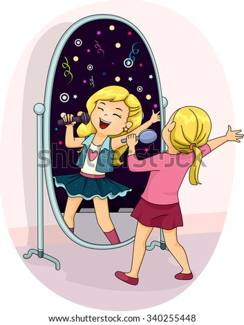 Illustration of a Little Girl Singing Her Heart Out in Front of the Mirror - stock vector
