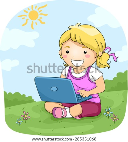 Illustration of a Little Girl Using Her Laptop - stock vector