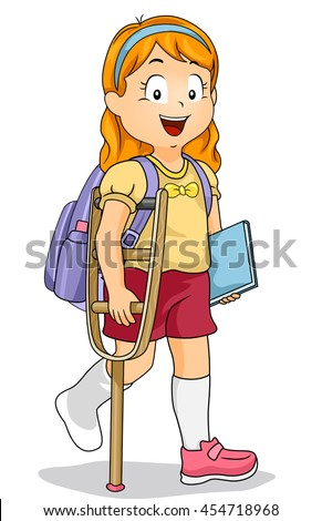 Illustration Of A Little Girl Walking With Crutch
