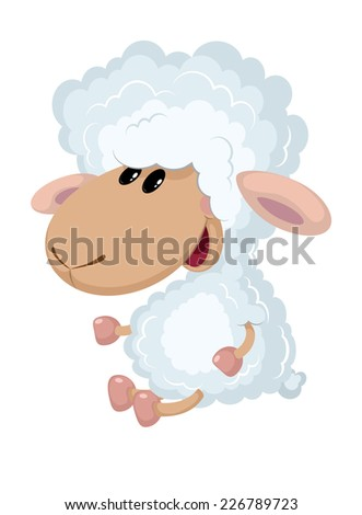 illustration of a little lamb sits