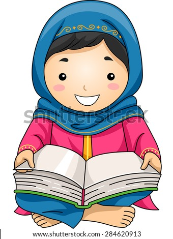 Illustration of a Little Muslim Girl Reading the Quran