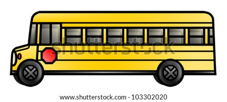 Illustration of a long cartoon school bus. Eps 10 Vector. - stock vector