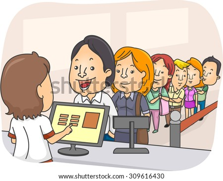 Illustration of a Long Line of People Waiting in Front of a Counter - stock vector