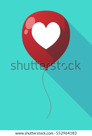 Illustration of a long shadow air  balloon with  the heart poker playing card sign