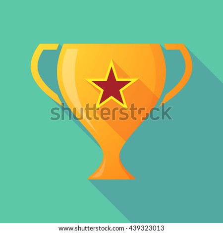 Illustration of a long shadow award cup icon with  the red star of communism icon