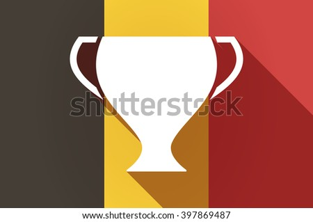 Illustration of a long shadow Belgium flag with a cup