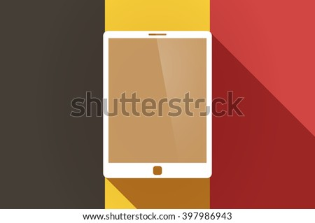 Illustration of a long shadow Belgium flag with a tablet computer