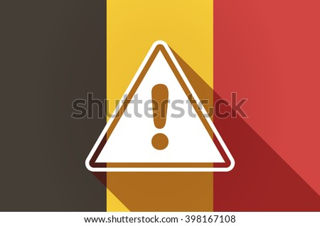 Illustration of a long shadow Belgium flag with a warning signal