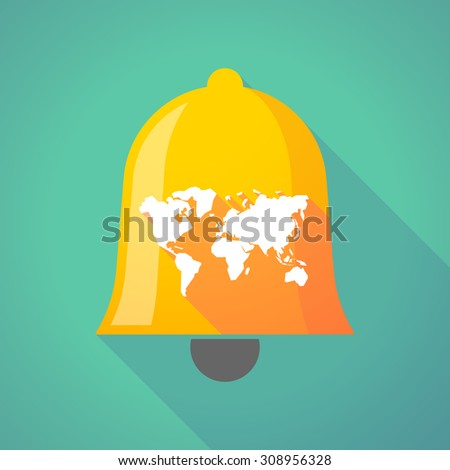 Illustration of a long shadow bell with a world map - stock vector