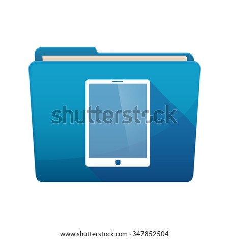Illustration of a long shadow  binder with  a tablet computer - stock vector