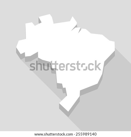 Illustration of a long shadow Brazil map  - stock vector