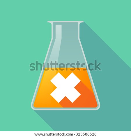 Illustration of a long shadow chemical flask with an irritating substance sign - stock vector