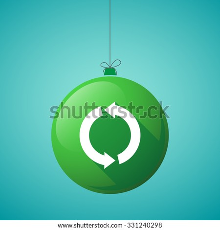 Illustration of a long shadow christmas ball icon with a round recycle sign - stock vector