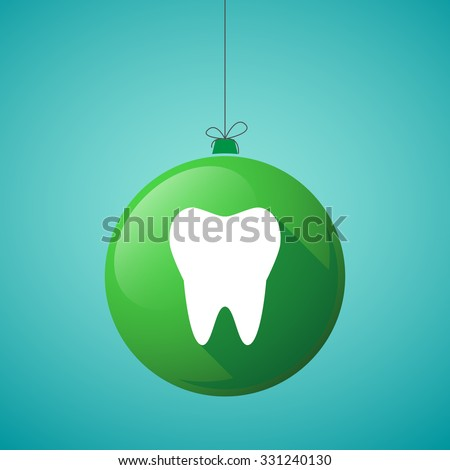 Illustration of a long shadow christmas ball icon with a tooth - stock vector