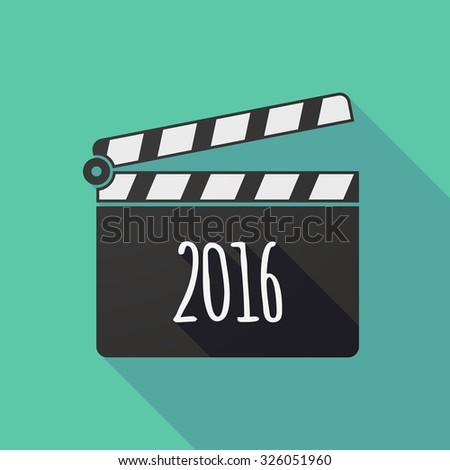 Illustration of a long shadow clapper board with a 2016 sign - stock vector