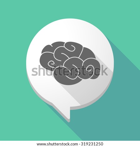 Illustration of a long shadow comic balloon with a brain - stock vector
