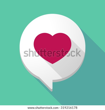 Illustration of a long shadow comic balloon with a heart