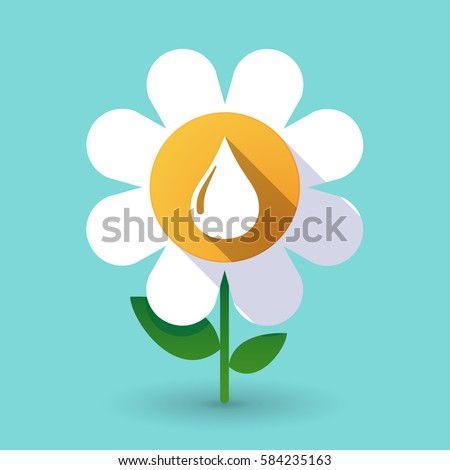 Illustration of a long shadow daisy flower with a fuel drop