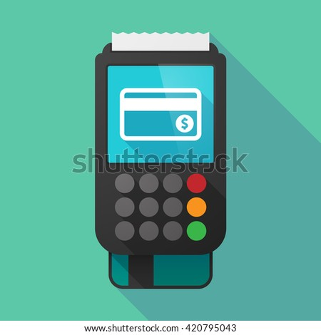 Illustration of a long shadow dataphone with  a credit card