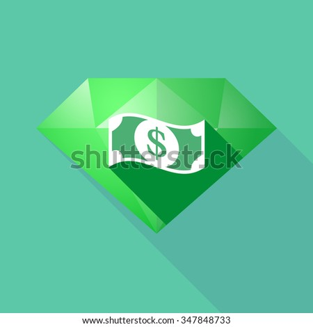 Illustration of a long shadow diamond icon with a dollar bank note