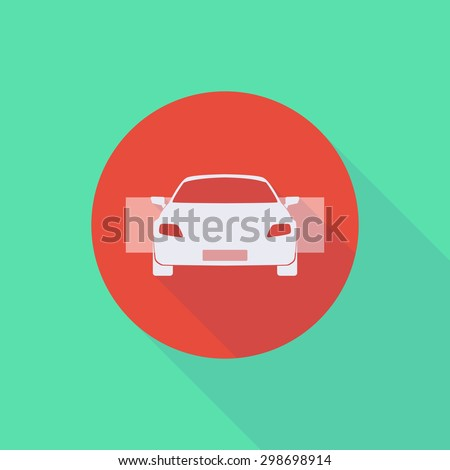 Illustration of a long shadow do not enter icon with a car