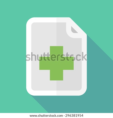 Illustration of a long shadow document icon with a pharmacy sign