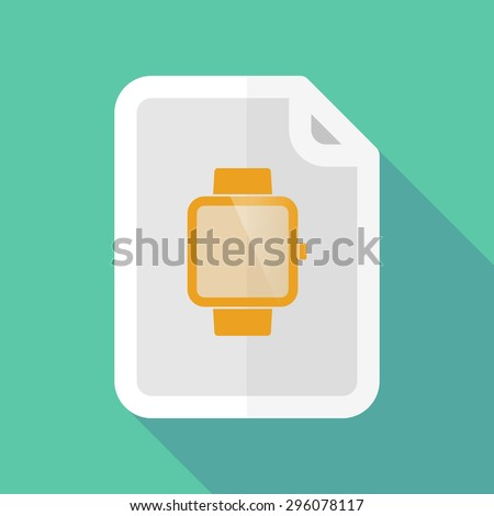 Illustration of a long shadow document icon with a smart watch