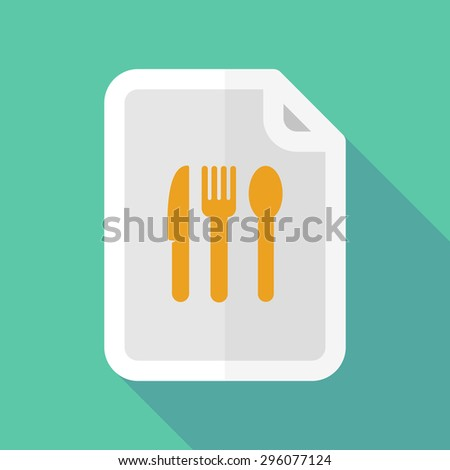 Illustration of a long shadow document icon with cutlery - stock vector