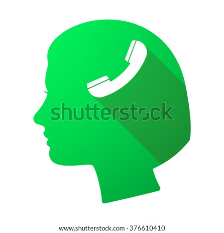 Illustration of a long shadow female head with a phone