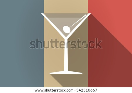 Illustration of a long shadow flag of France vector icon with a cocktail glass